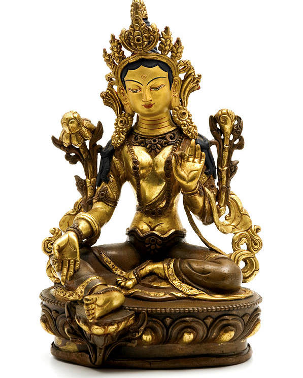 White Background Poster featuring the photograph Green Tara by Fabrizio Troiani