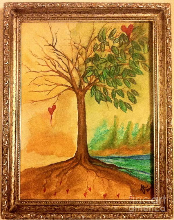 Watercolor Tree Poster featuring the painting Growing In Love by Gina Hyatt