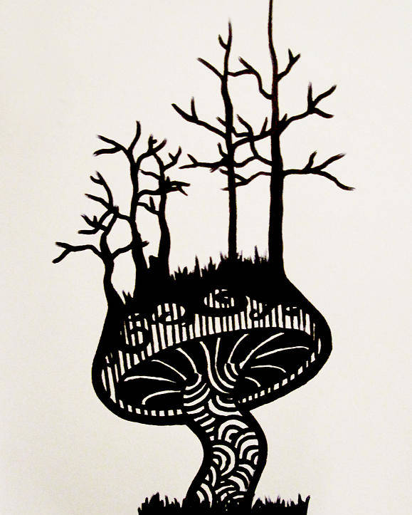 Mushroom Top Tree Roots Bare Branch Branches Growth Swirls Stripes Sharpie Felt Pen Marker Black White Contrast Graphic Design Tattoo Michelle Neels Missmeesh Meesh Poster featuring the drawing Growth by Michelle Neels