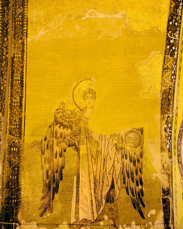 Art Poster featuring the photograph Guardian Angel Byzantine Art by Artur Bogacki
