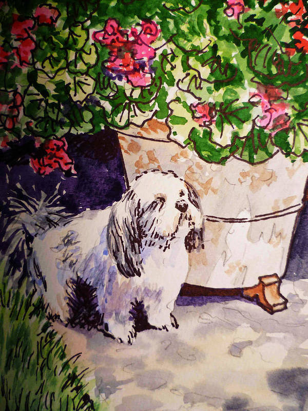 Dog Poster featuring the painting Guarding Geranium Sketchbook Project Down My Street by Irina Sztukowski