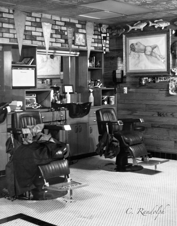 Barber Shop Poster featuring the photograph Guy's World by Cheri Randolph