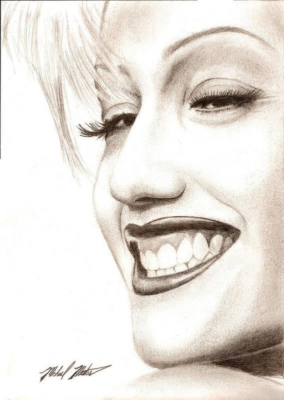 Gwen Poster featuring the drawing Gwen Stefani by Michael Mestas