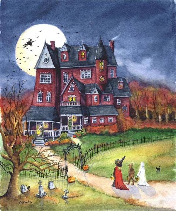 Halloween Poster featuring the painting Halloween Haunted Mansion by Iva Wilcox