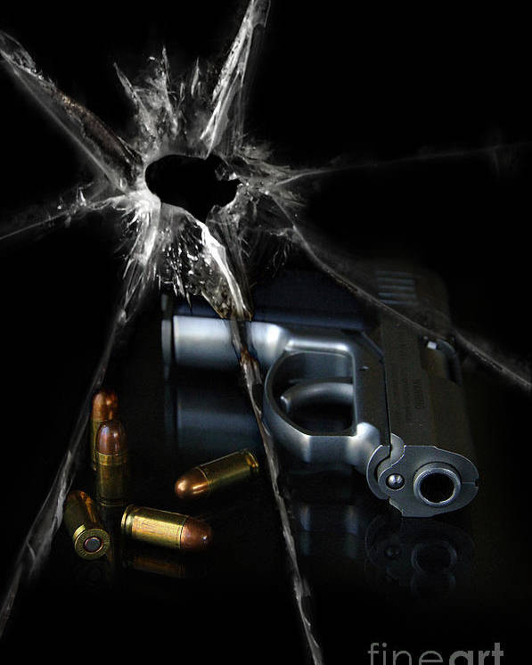 Gun Poster featuring the photograph Handgun Bullets And Bullet Hole by Jill Battaglia