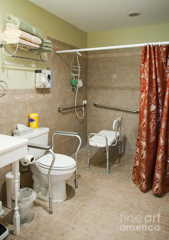 Bathroom Poster featuring the photograph Handicapped-accessible Bathroom by Andersen Ross