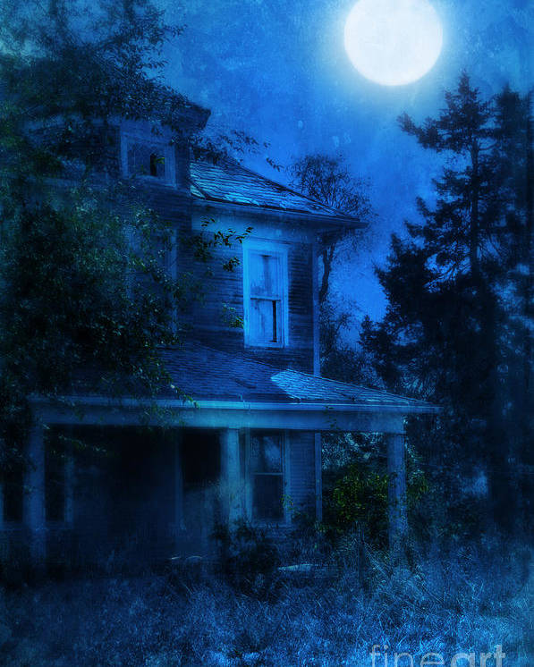 House Poster featuring the photograph Haunted House Full Moon by Jill Battaglia