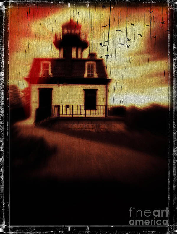 Halloween Poster featuring the photograph Haunted Lighthouse by Edward Fielding