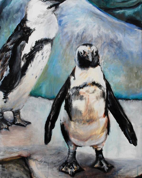 Hawaii Hawaiian Penguins Penguin Ice Blue Cold Winter Bird Beaks Icy Poster featuring the painting Hawaiian Penguins by Rust Dill