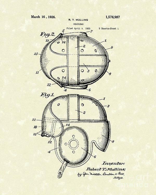 Mullins Poster featuring the drawing Headgear 1926 Patent Art by Prior Art Design