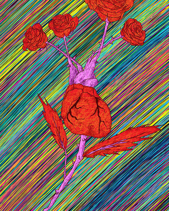 Heart Made Of Roses Poster featuring the painting Heart Made Of Roses by Kenal Louis