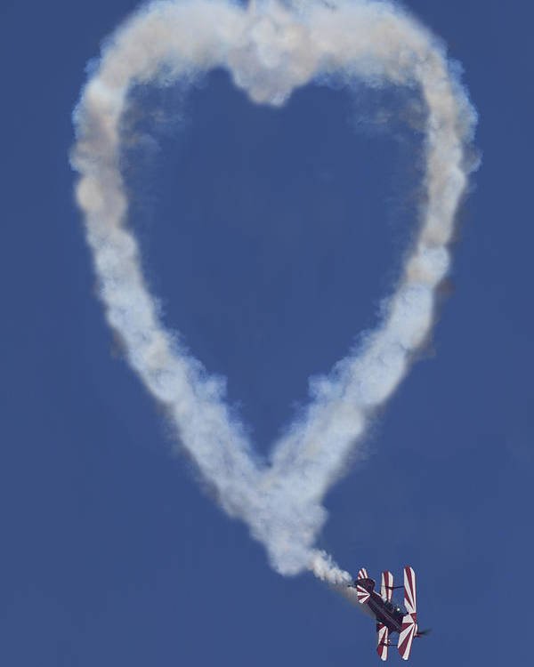 Plane Poster featuring the photograph Heart Shape Smoke And Plane by Garry Gay