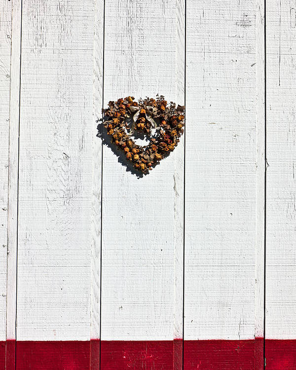 Heart Wreath Wood Wall Poster featuring the photograph Heart Wreath On Wood Wall by Garry Gay