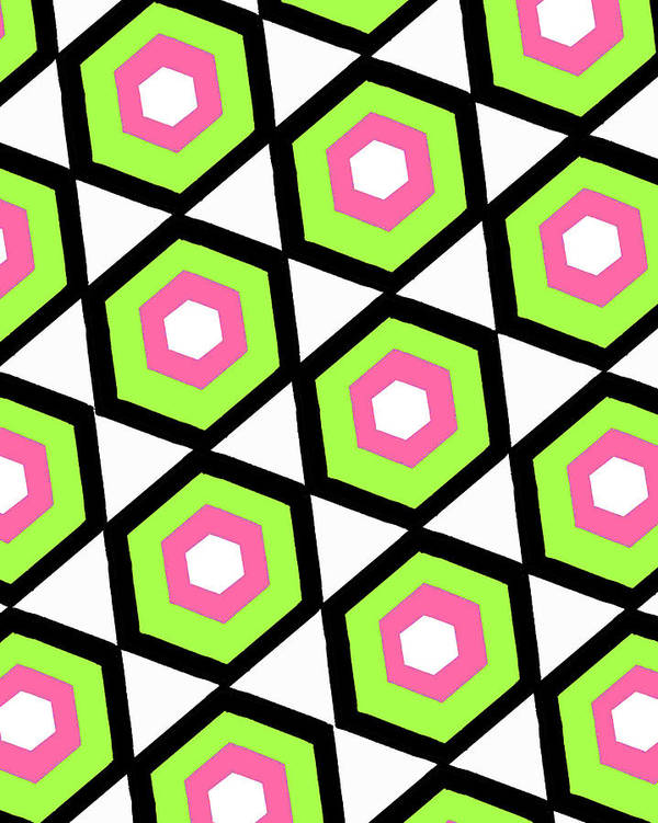 Louisa Poster featuring the digital art Hexagon by Louisa Knight