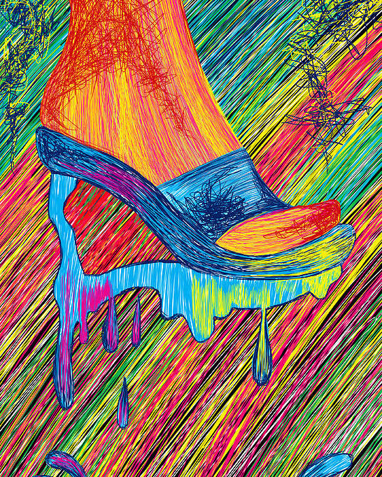 High Heels Art Poster featuring the painting High Heels Abstraction by Kenal Louis