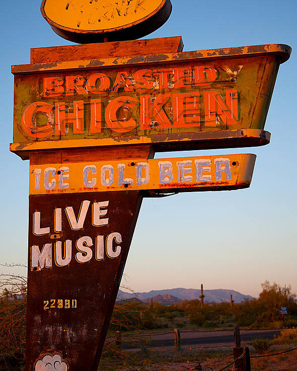 Arizona Artist Jephyr Aka Jeff Curtis Digital Photograph Photography Highway Mirage Old Roadway Advertising Sign Poster featuring the photograph Highway Mirage by Jephyr Art