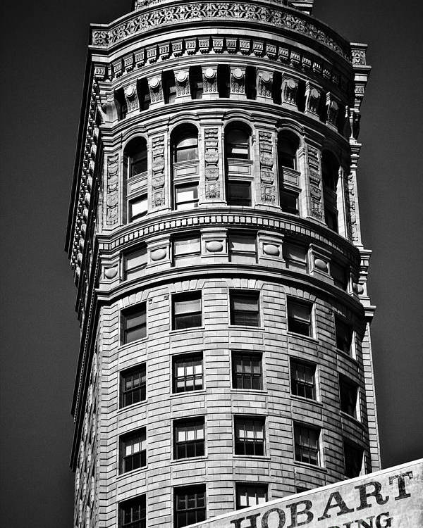 America Poster featuring the photograph Hobart Building In San Francisco Ll - Black And White by Hideaki Sakurai