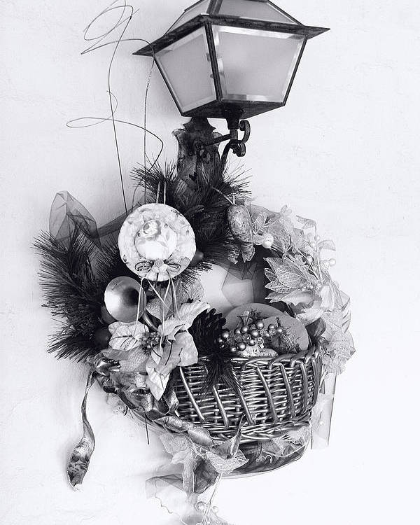 Holiday Poster featuring the photograph Holiday Basket On Lamp Bw by Linda Phelps