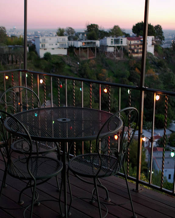 Outdoor Deck Poster featuring the photograph Holiday Deck At Dusk by Lorraine Devon Wilke