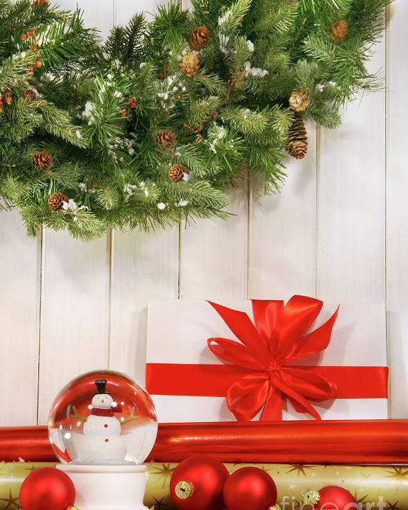 Bright Poster featuring the photograph Holiday Wreath With Snow Globe by Sandra Cunningham