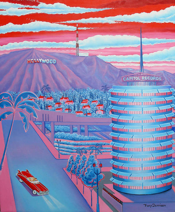 Capitol Record Building Poster featuring the painting Hollywood Usa by Tracy Dennison