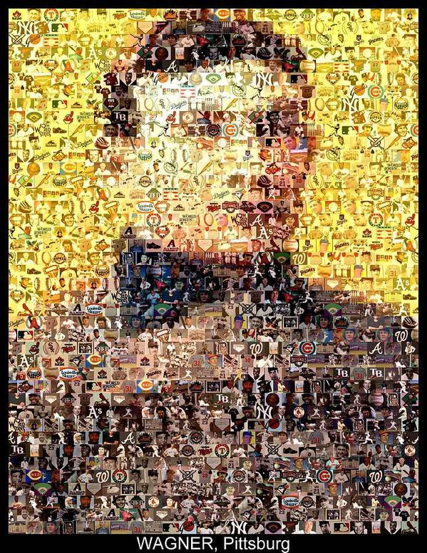 Honus Wagner Poster featuring the mixed media Honus Wagner Mosaic by Paul Van Scott