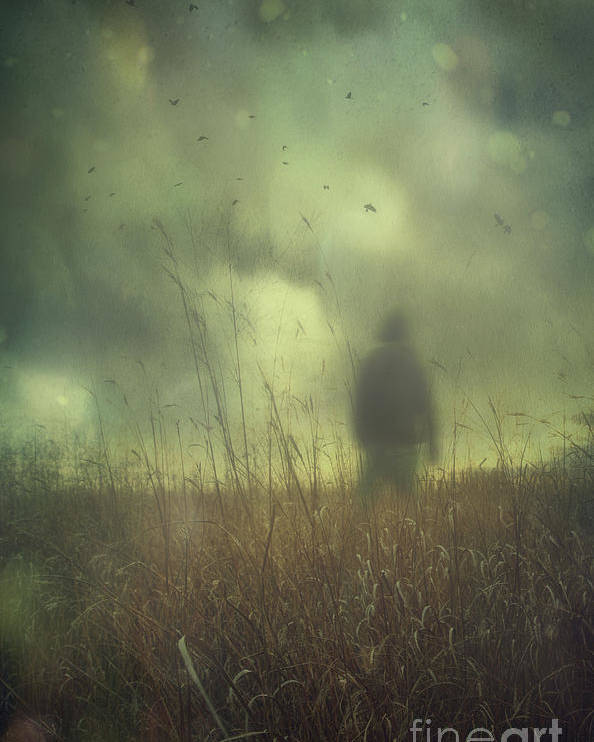 Atmosphere Poster featuring the photograph Hooded Man Walking In Field With Storm Clouds by Sandra Cunningham