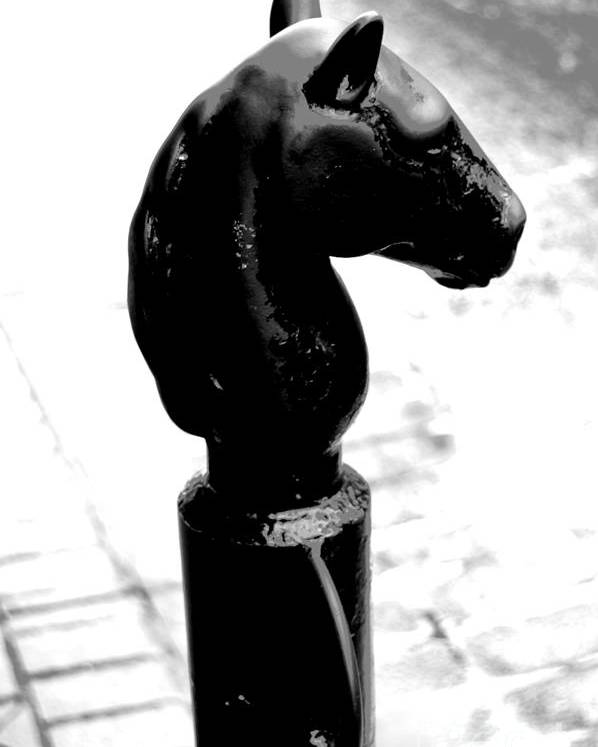 Travelpixpro New Orleans Poster featuring the digital art Horse Head Pole Hitching Post French Quarter New Orleans Black And White Conte Crayon Digital Art by Shawn O'Brien