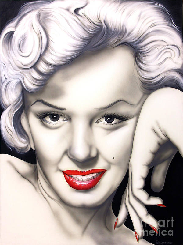 Marilyn Monroe Poster featuring the painting Hot Lips by Bruce Carter