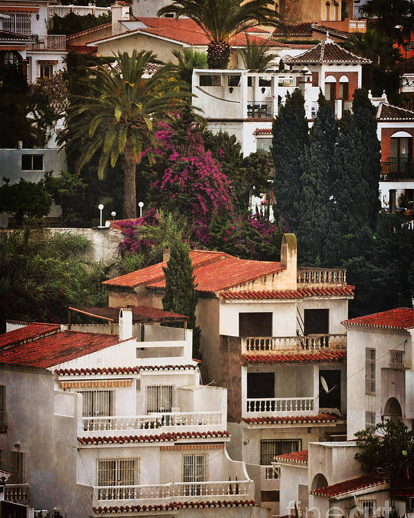 Houses On The Hill Poster featuring the photograph Houses On The Hill Nerja by Mary Machare