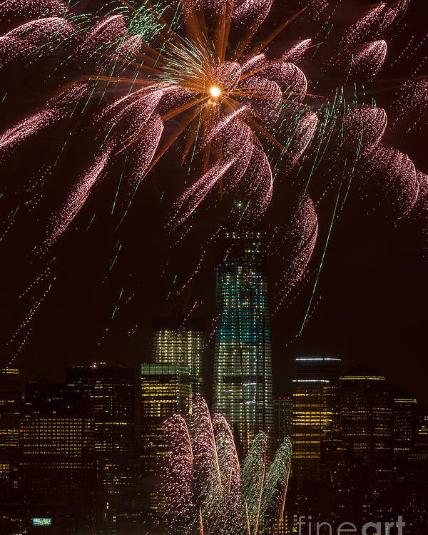 Clarence Holmes Poster featuring the photograph Hudson River Fireworks X by Clarence Holmes