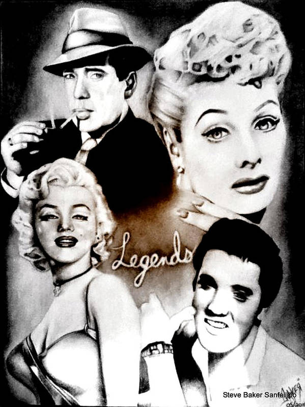 Humphrey Bogart Poster Featuring The Drawing Lucille Ball Marilyn Monroe And Elvis Presley By