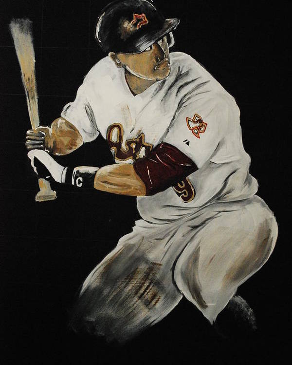 Hunter Pence Poster featuring the painting Hunter Pence 2 by Leo Artist