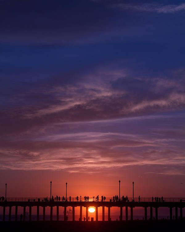 Sunset Poster featuring the photograph Huntington Beach Pier by Dina Calvarese