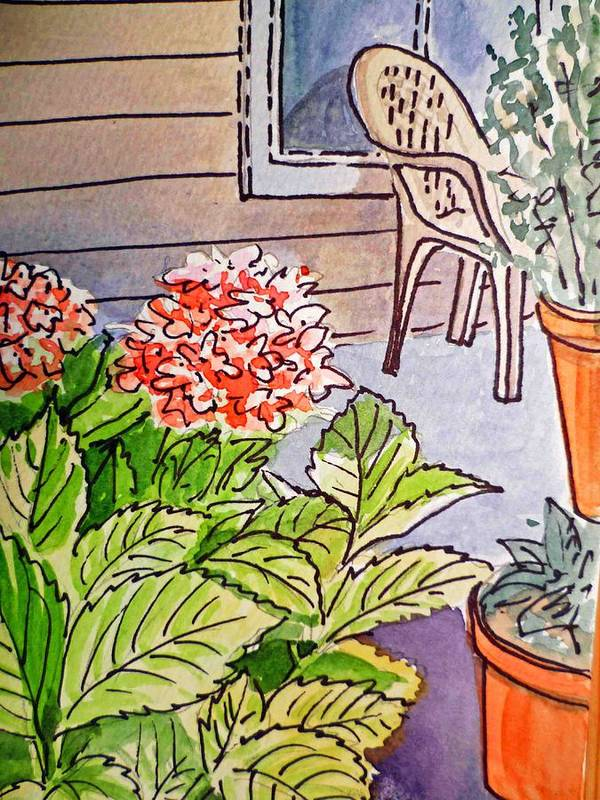 Hydrangea Poster featuring the painting Hydrangea Sketchbook Project Down My Street by Irina Sztukowski