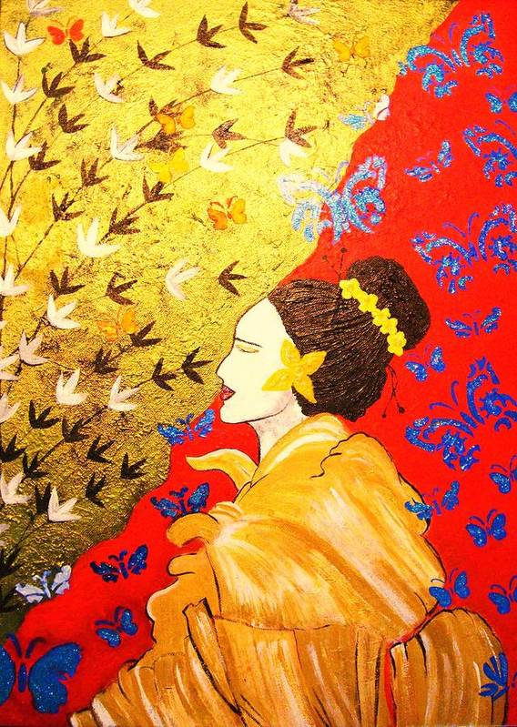 Butterfly Poster featuring the painting I Dream Of Wings by Anuradha Mukherji