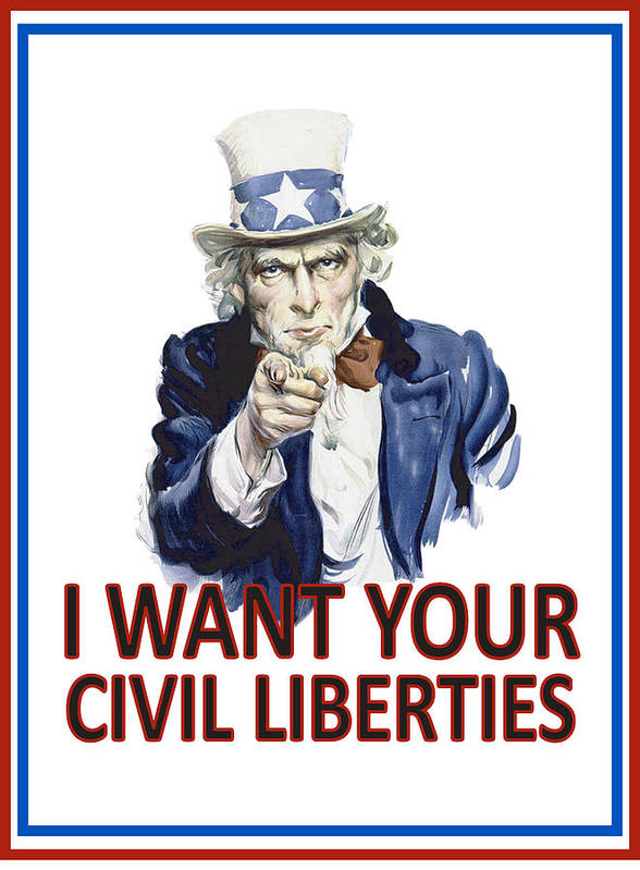 Uncle Sam Poster featuring the digital art I Want Your Civil Liberties by Matt Greganti