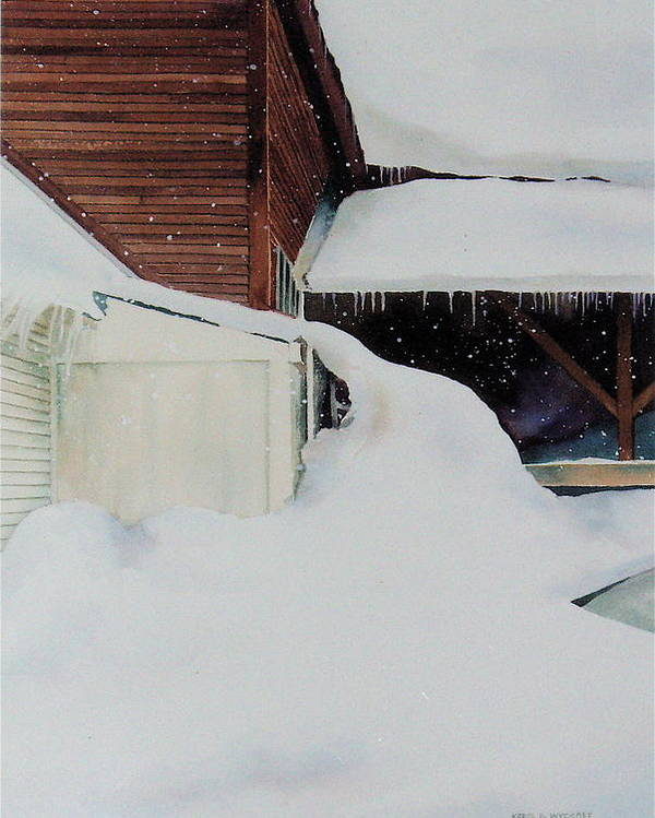 Barn Poster featuring the painting Icicles by Karol Wyckoff