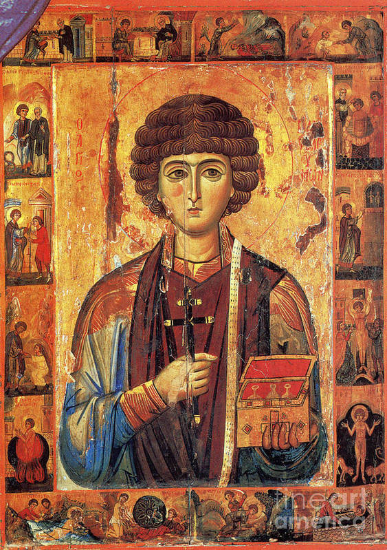 Historic Poster featuring the photograph Icon Of Saint Pantaleon by Science Source