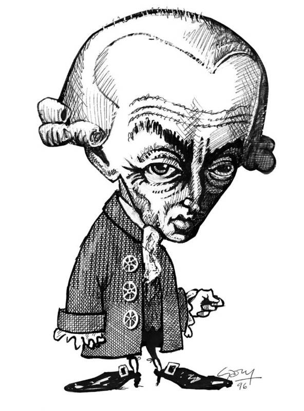 Human Poster featuring the photograph Immanuel Kant, Caricature by Gary Brown
