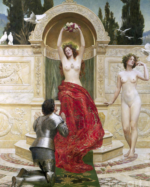German Legend;armour;dove;pre-raphaelite;doves;nude;female;goddess;love;enchanted;bewitched In The Venusburg (tannhauser) Poster featuring the painting In The Venusburg by John Collier