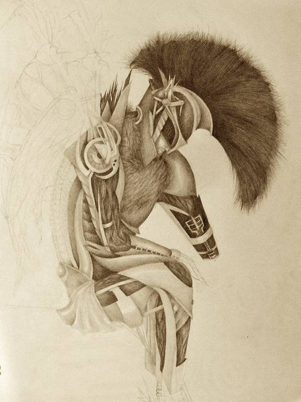 Graphite Poster featuring the drawing Incomplete Guardian by Melissa Cabigao