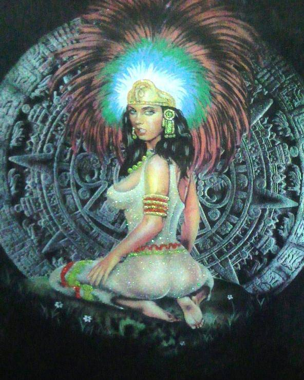 Calendar Poster featuring the painting Indian Woman by Unique Consignment