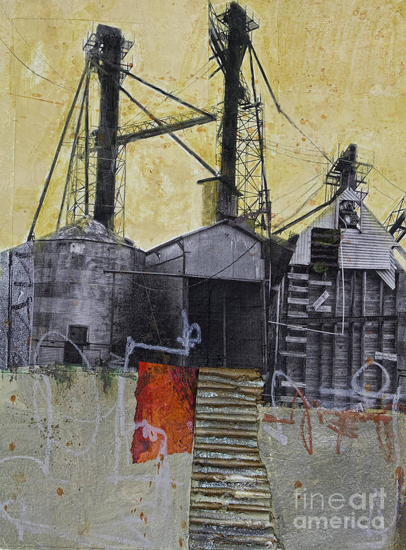 Collage Poster featuring the mixed media Industrial Landscape 1 by Elena Nosyreva
