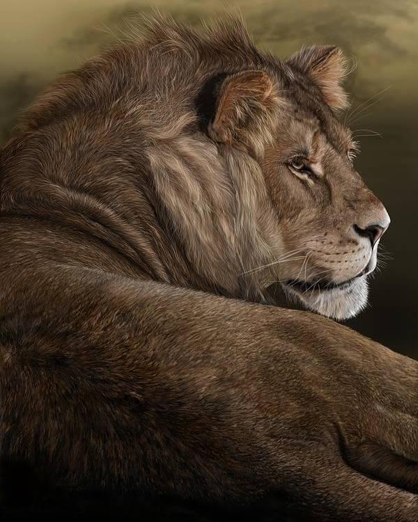 Lion Poster featuring the digital art Intent by Laura Klassen