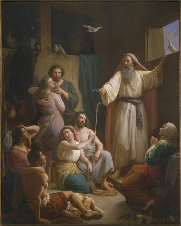 Male; Female; Couple; Couples; Family; Boat; Ship; Saving; Rescuing; Rescue; Rescued; Human Race; Patriarch; Dove; Doves; Bird; Birds; Dog; Animal; Beard; Biblical Poster featuring the painting Interior Of Noah's Ark by Joaquim Ramirez