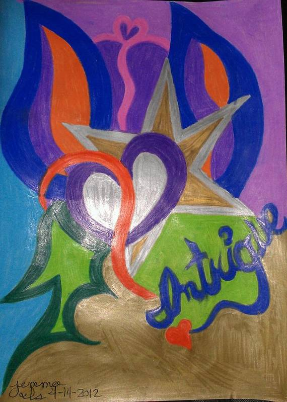 Mystic Poster featuring the drawing Intigue by Jemma Starseed