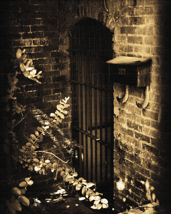 Antique Poster featuring the photograph Iron Door Sepia by Kelly Hazel