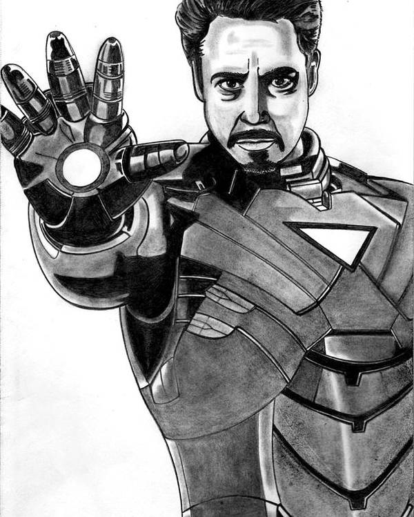 Iron Man Poster featuring the drawing Iron Man by Ralph Harlow