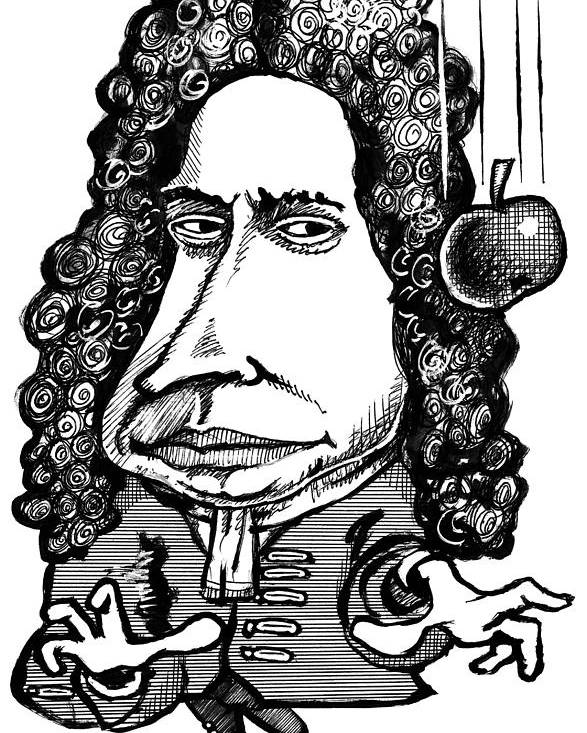 Isaac Newton Poster featuring the photograph Isaac Newton, Caricature by Gary Brown
